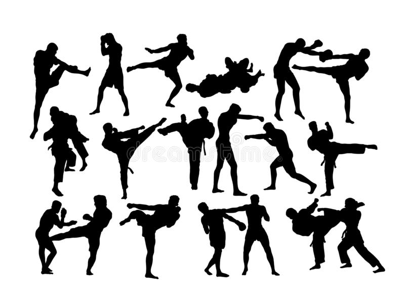 Siluette della concorrenza di pugilato e di arte marziale illustrazione vettoriale