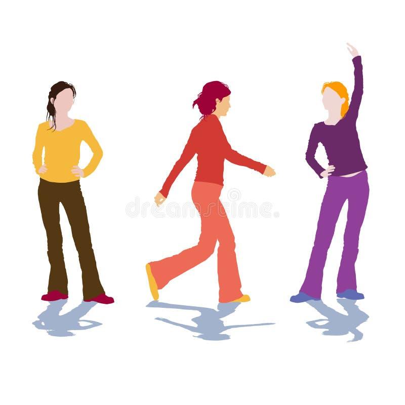 Download Siluette della donna illustrazione vettoriale. Illustrazione di wellness - 3891257