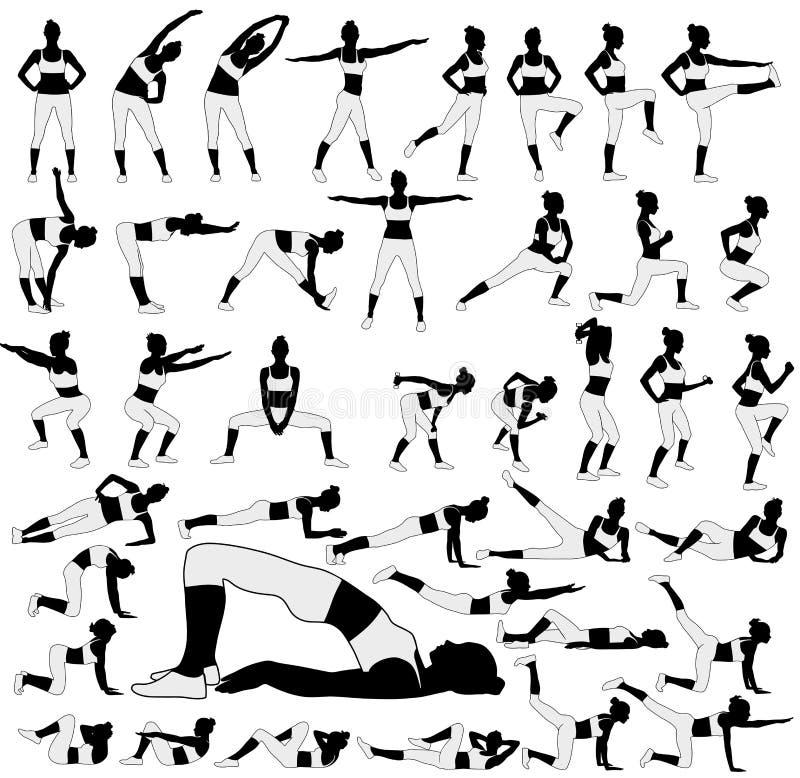 Siluette della donna di forma fisica in molte posizioni differenti illustrazione vettoriale