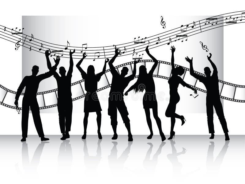 Siluette della gente con la striscia e la musica della pellicola royalty illustrazione gratis