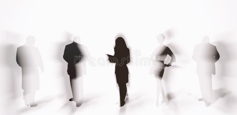 Siluette della gente con le ombre illustrazione vettoriale