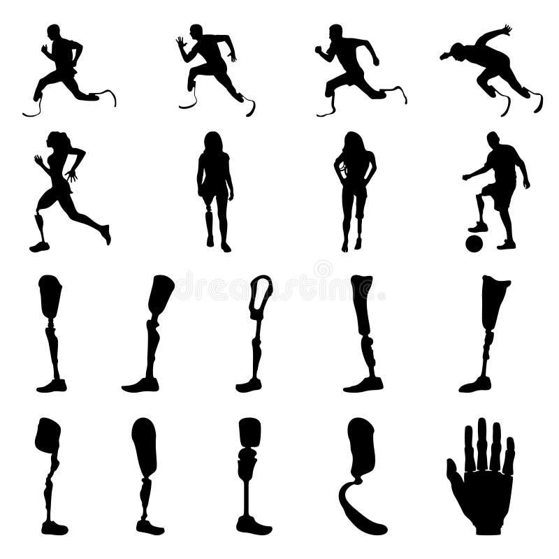 Siluette della gente dell'amputato con l'arto artificiale Siluette delle gambe prostetiche e delle armi illustrazione vettoriale
