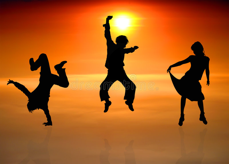 Siluette della gente di dancing immagini stock libere da diritti