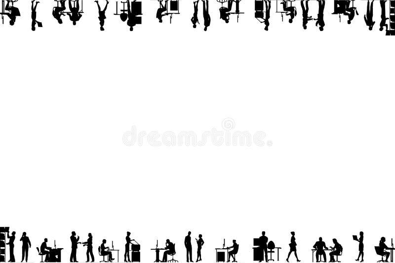 Siluette della gente nell'ufficio allineato sui bordi del telaio fotografie stock libere da diritti