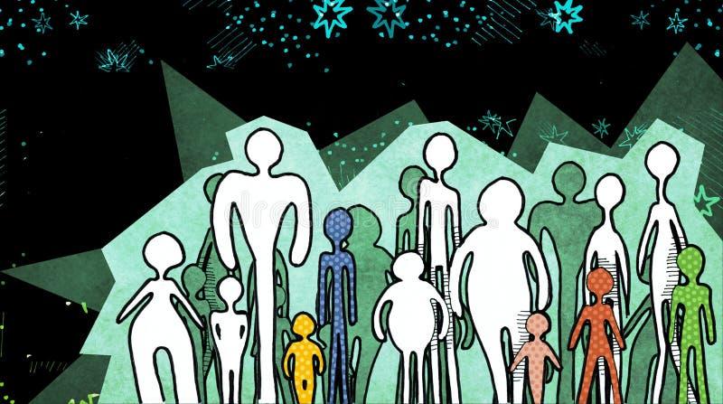 Siluette della gente su fondo cosmico royalty illustrazione gratis