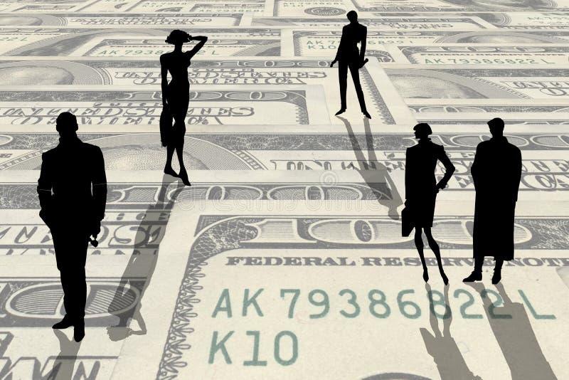 Siluette della gente sui soldi illustrazione di stock