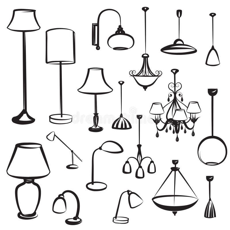 Siluette della mobilia della lampada messe Raccolta di progettazione della plafoniera illustrazione vettoriale