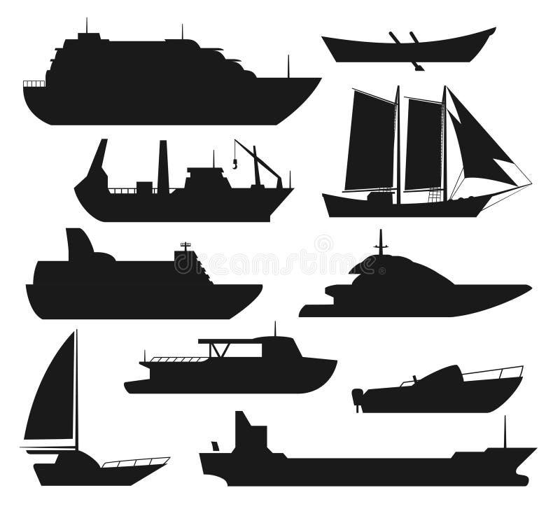 Siluette della nave del mare royalty illustrazione gratis