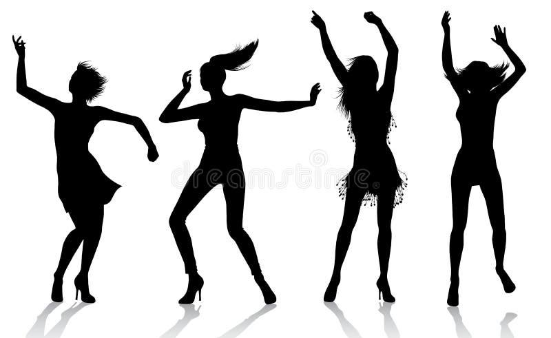 Siluette della ragazza di Dancing illustrazione di stock