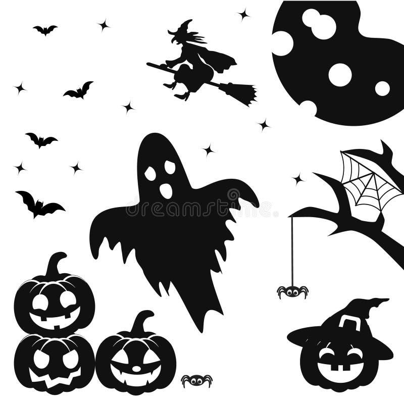 Siluette della zucca con il fronte, i pipistrelli, i ragni, il volo della strega sul manico di scopa ed il fantasma su un bianco  illustrazione vettoriale