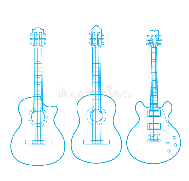 Siluette delle chitarre classiche isolate su bianco, royalty illustrazione gratis
