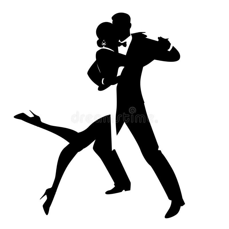 Siluette delle coppie eleganti che ballano ballo romantico isolate su fondo bianco illustrazione vettoriale