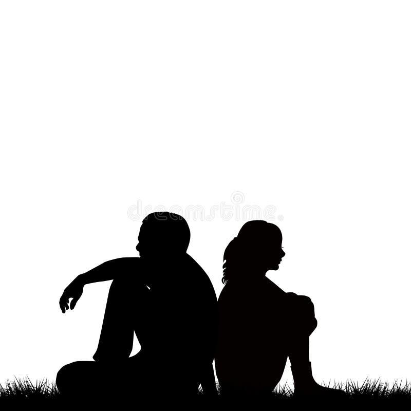 Siluette delle coppie tristi che si siedono di nuovo alla parte posteriore illustrazione vettoriale