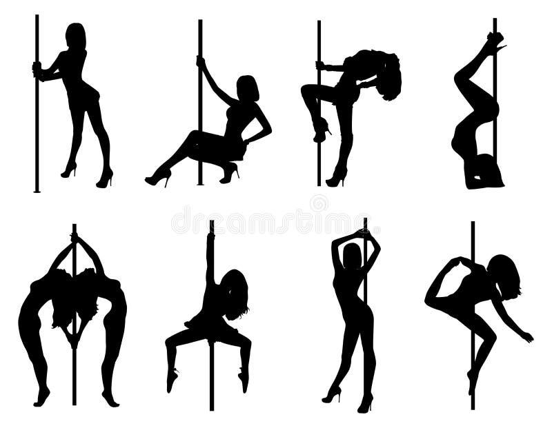 Siluette delle donne di ballo di Palo royalty illustrazione gratis