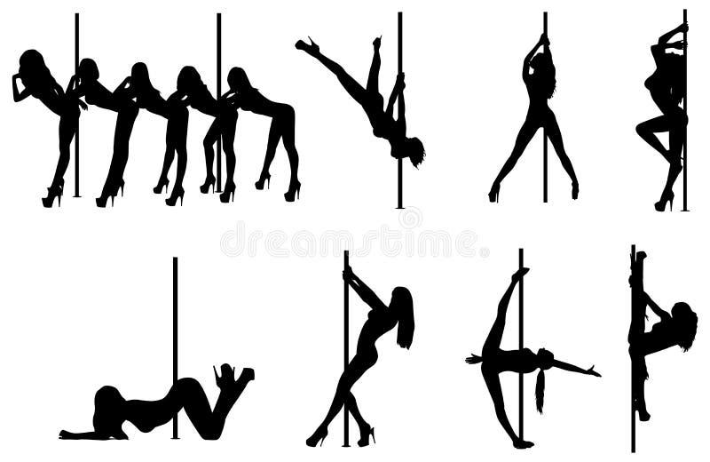 Siluette delle donne di ballo di Palo illustrazione di stock