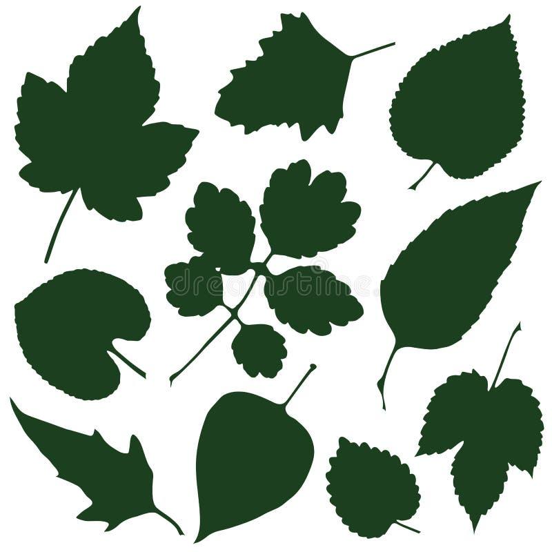 Siluette delle foglie illustrazione di stock