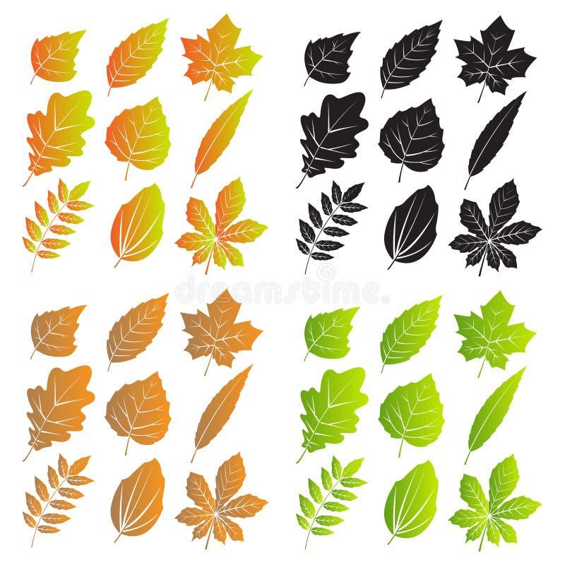 Siluette delle foglie con le vene royalty illustrazione gratis