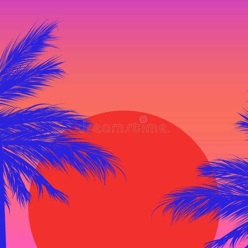 Siluette delle palme su un fondo di pendenza con il sole rosso Sintwave immagini stock libere da diritti