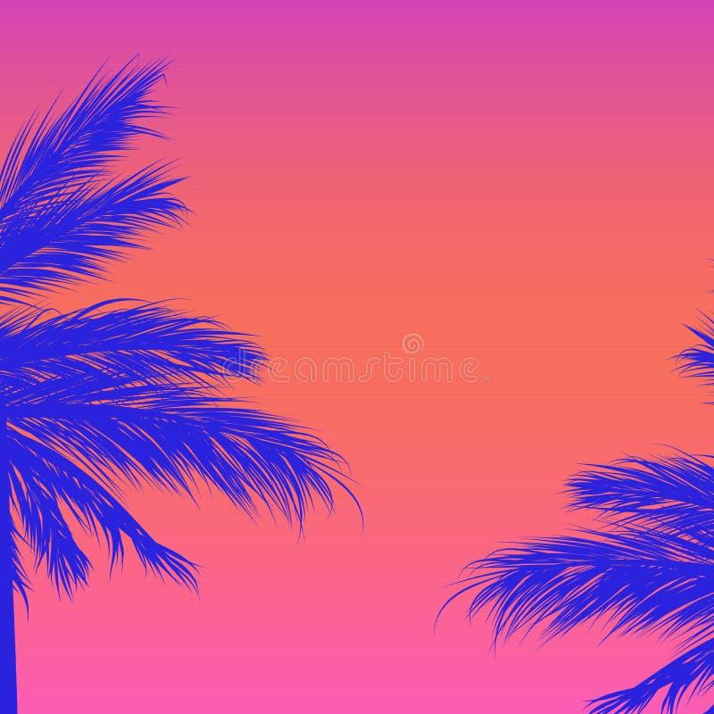 Siluette delle palme su un fondo di pendenza Sintwave fotografia stock libera da diritti