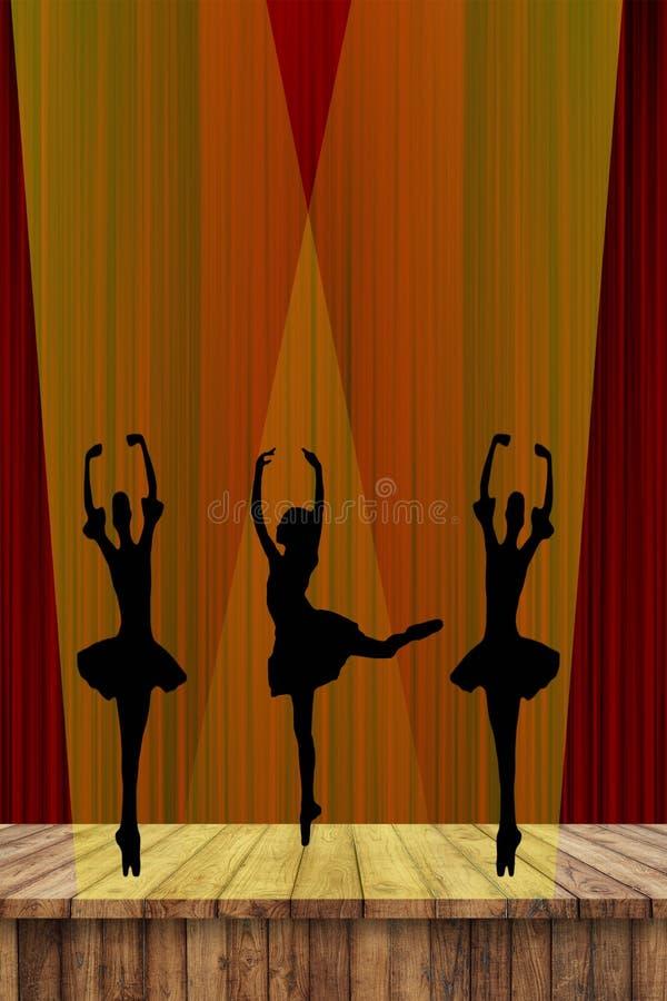 Siluette delle ragazze di balletto delle ballerine di dancing in scena nel riflettore con un fondo rosso della tenda illustrazione vettoriale