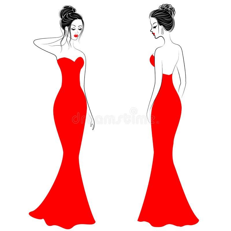 Siluette delle signore sveglie in vestiti festivi rossi Le ragazze mostrano uno stile da fondere in anteriore ed in indietro I mo illustrazione vettoriale