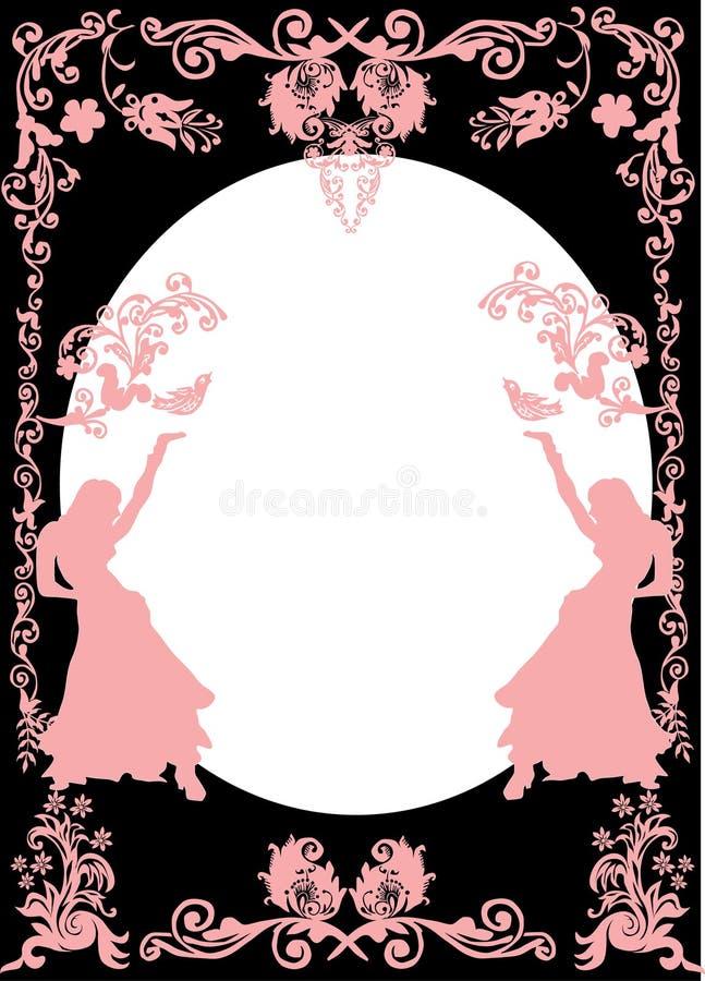 Siluette dentellare della ragazza e blocco per grafici floreale illustrazione di stock