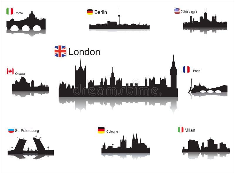 Siluette dettagliate delle città del mondo illustrazione di stock