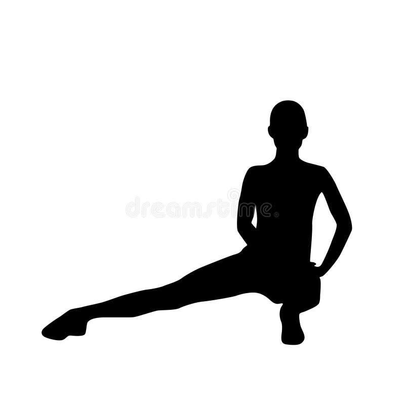 Siluette di allenamento di esercizio della donna di forma fisica di sport illustrazione di stock