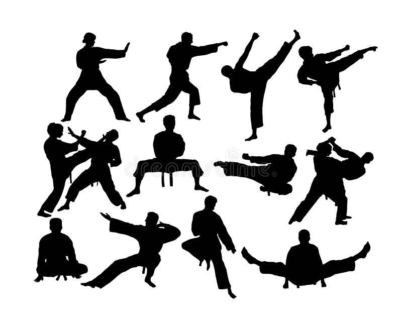 Siluette di attività di sport di karatè e di arte marziale illustrazione vettoriale