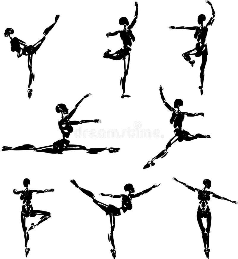 Siluette di balletto del Android illustrazione vettoriale