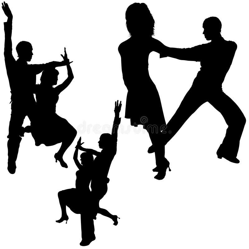 Siluette di ballo del Latino illustrazione di stock