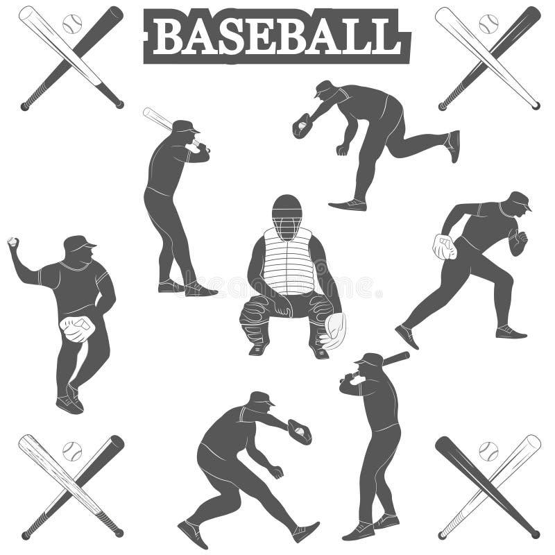 Siluette di baseball sui precedenti bianchi royalty illustrazione gratis