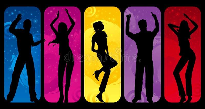 Siluette di Dancing illustrazione di stock