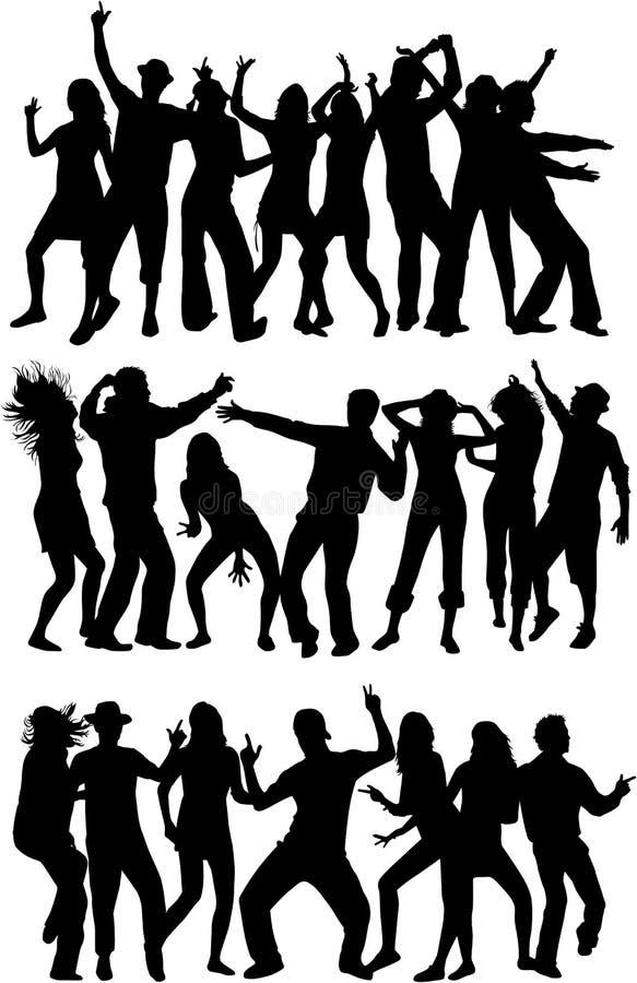 Siluette di dancing - ampia raccolta illustrazione di stock