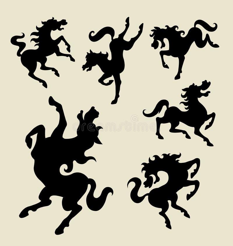 Siluette di dancing del cavallo illustrazione vettoriale