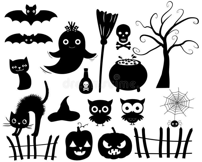 Siluette di Halloween di vettore illustrazione vettoriale