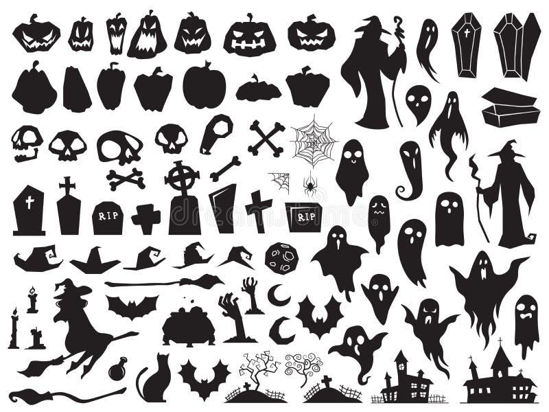 Siluette di Halloween Strega diabolica spettrale, bara grave terrificante e siluetta dello stregone Vettore della zucca, del ragn royalty illustrazione gratis