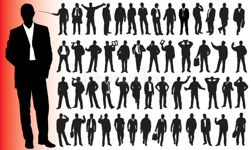 Siluette di molta gente di affari illustrazione vettoriale