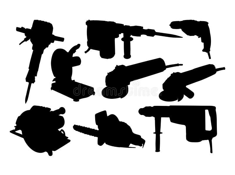 Siluette di Powertools immagini stock libere da diritti