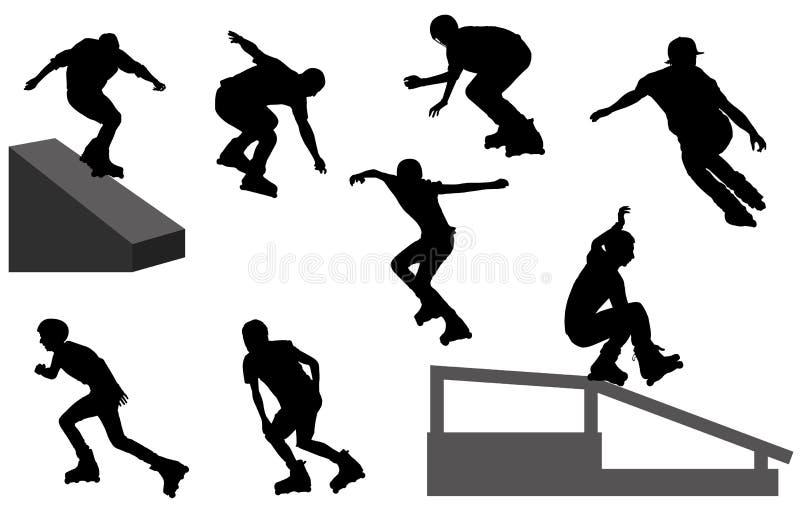 Siluette di Rollerblade illustrazione di stock
