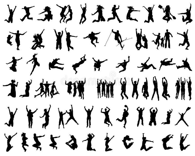 Siluette di salto della gente illustrazione vettoriale