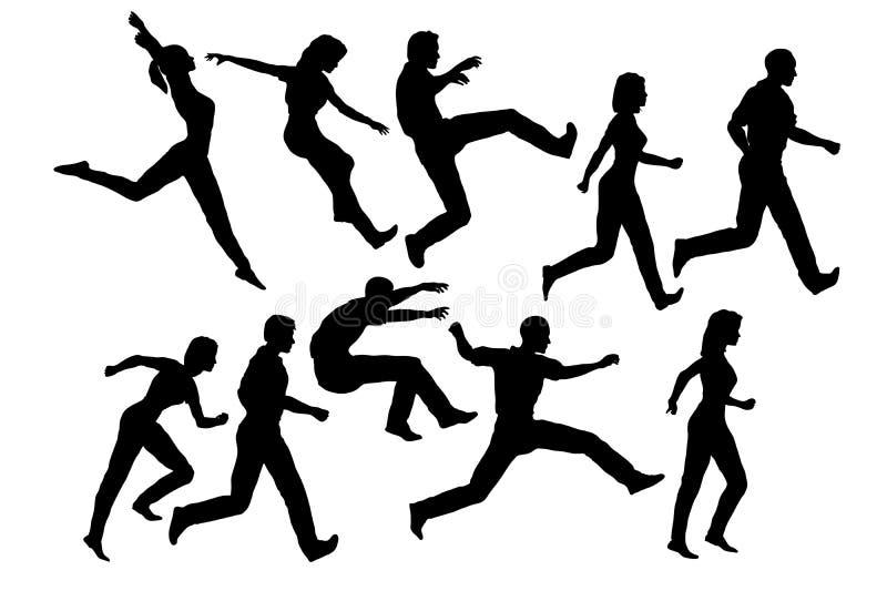 Siluette di salto della gente illustrazione di stock