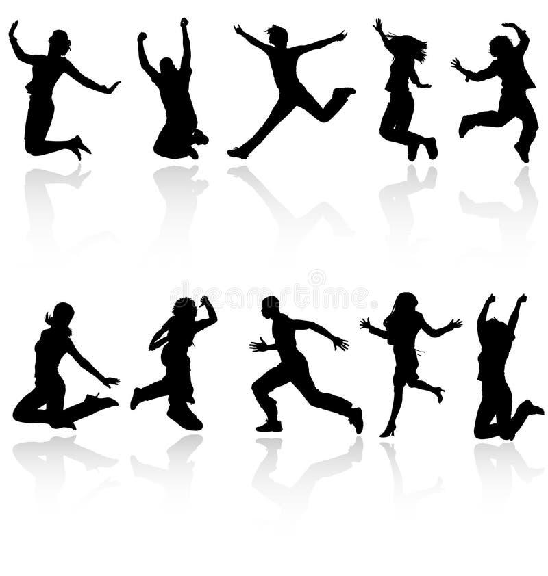 Siluette di salto della gente. illustrazione vettoriale