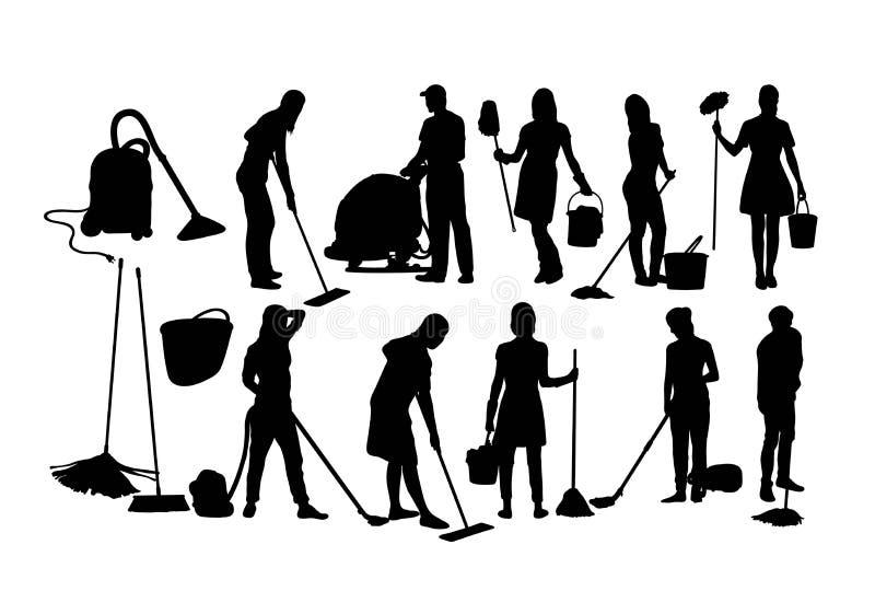 Siluette di servizio di pulizia royalty illustrazione gratis