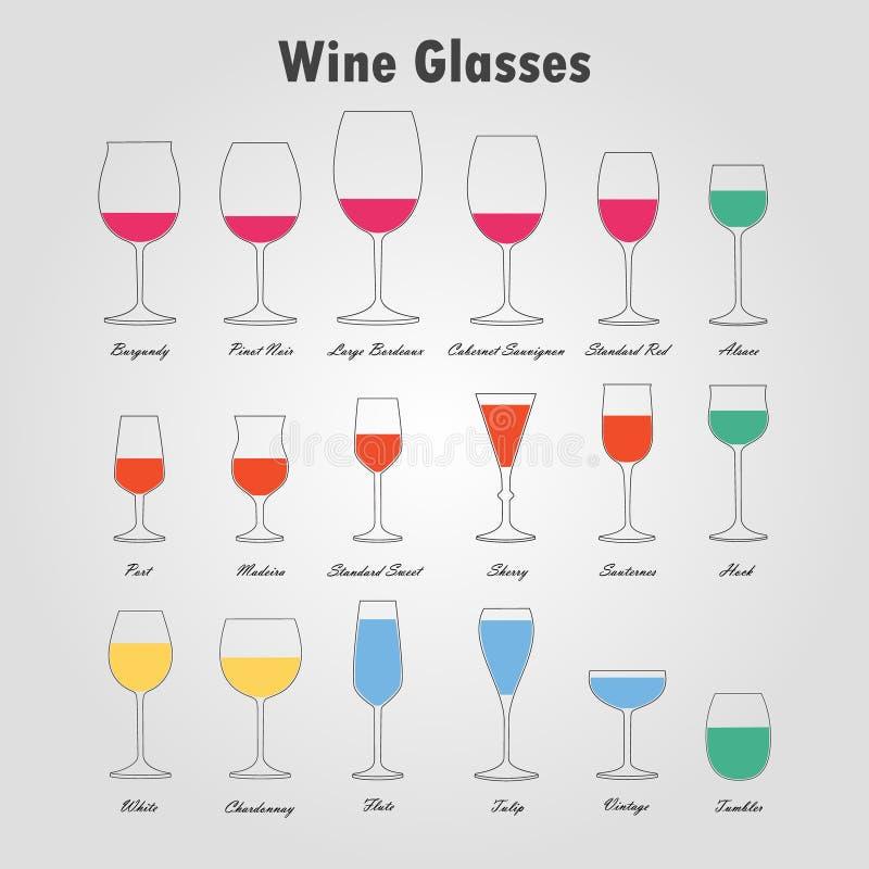 Siluette di vetro di vino messe illustrazione vettoriale