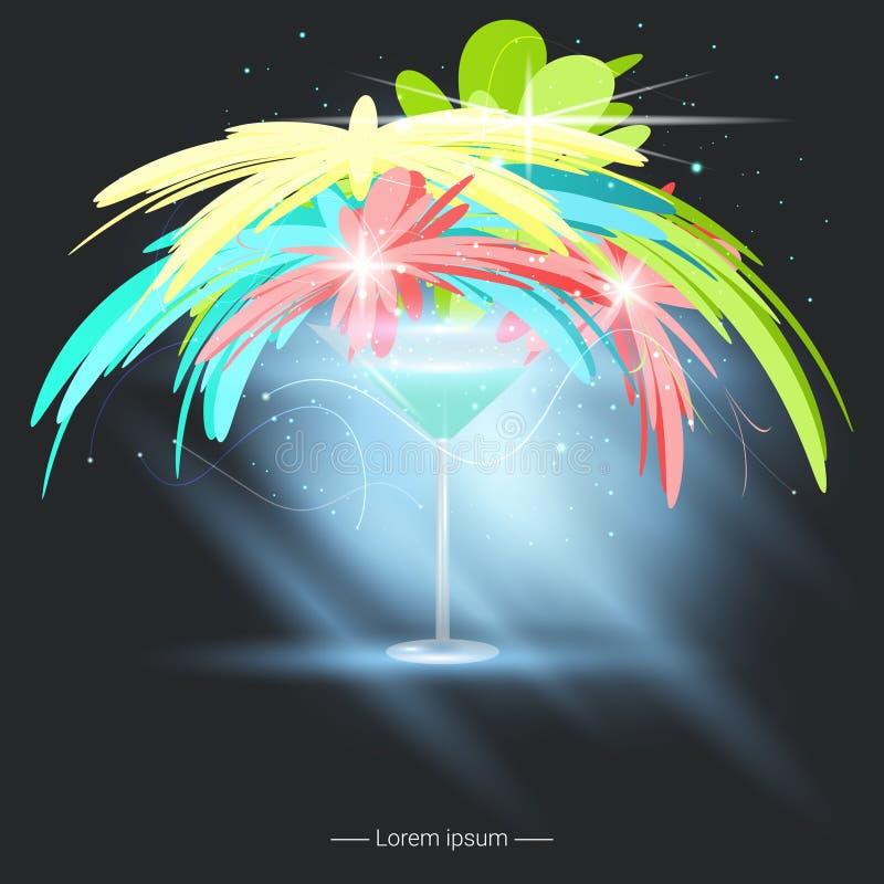 Siluette di vetro di Martini Concezione di festa Illustrazione di vettore royalty illustrazione gratis