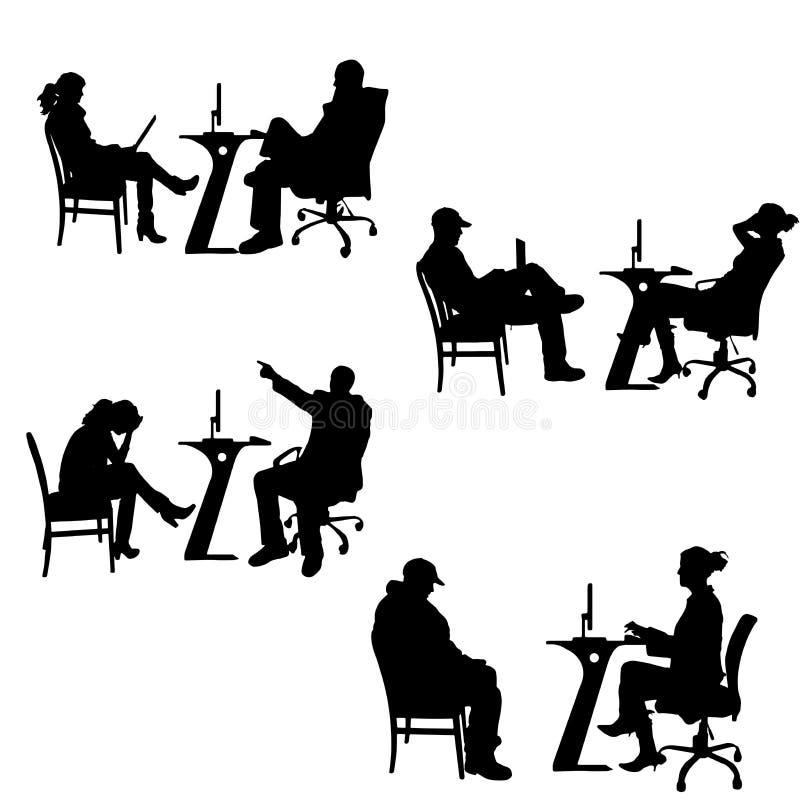 Siluette di vettore della gente nell'ufficio illustrazione vettoriale