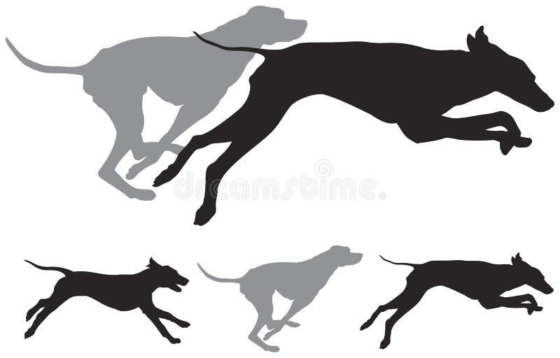 Siluette di vettore di funzionamento dei cani da caccia illustrazione di stock