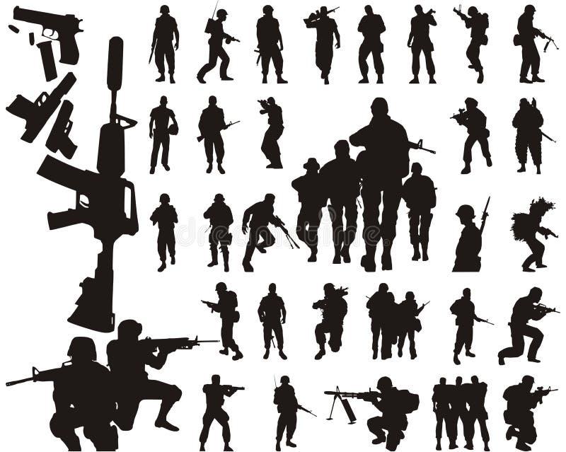 Siluette e braccia del soldato illustrazione di stock
