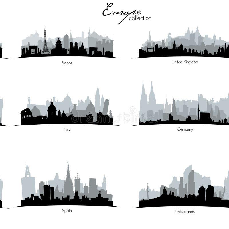 Siluette europee dei coutries di vettore illustrazione di stock